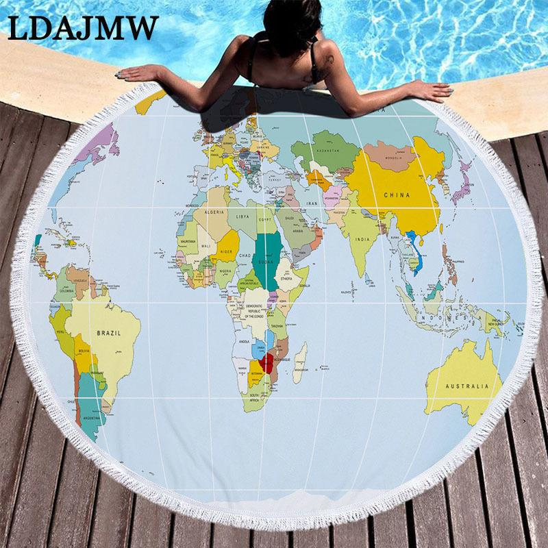 LADJMW World Map Print Large Round Beach Towel Microfiber And Tassel