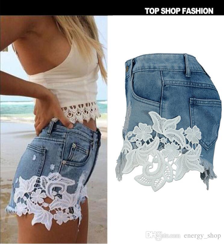 2019 2018 Summer New Sexy Lace Stitching Denim Shorts Female Loose