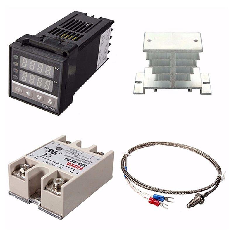 2019 Digital 220V PID REX C100 Temperature Controller + Max40A SSR