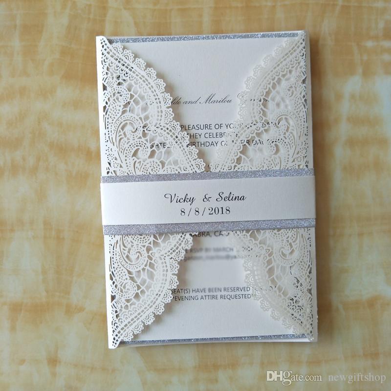 Luxury Ivory Glitter Wedding Invitations With Belt Elegant Party