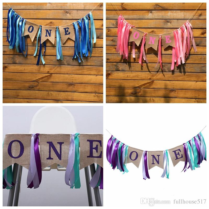 One 1st Birthday Decorations Baby First Burlap Highchair Banner