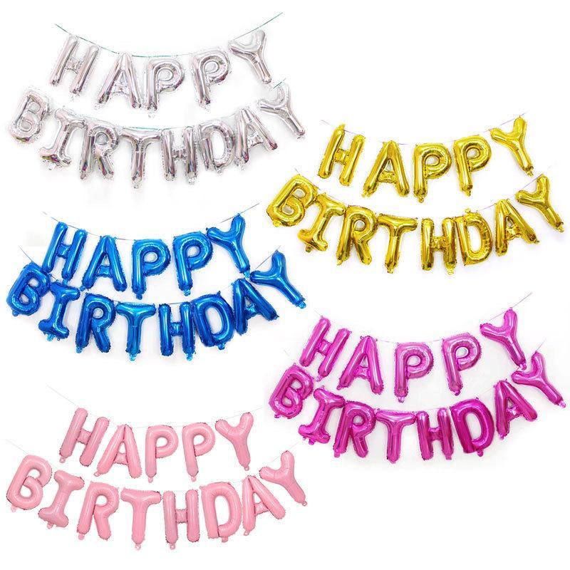 Compre 13 Unids / Set 16 Pulgadas Letras De Feliz Cumpleaños Globos