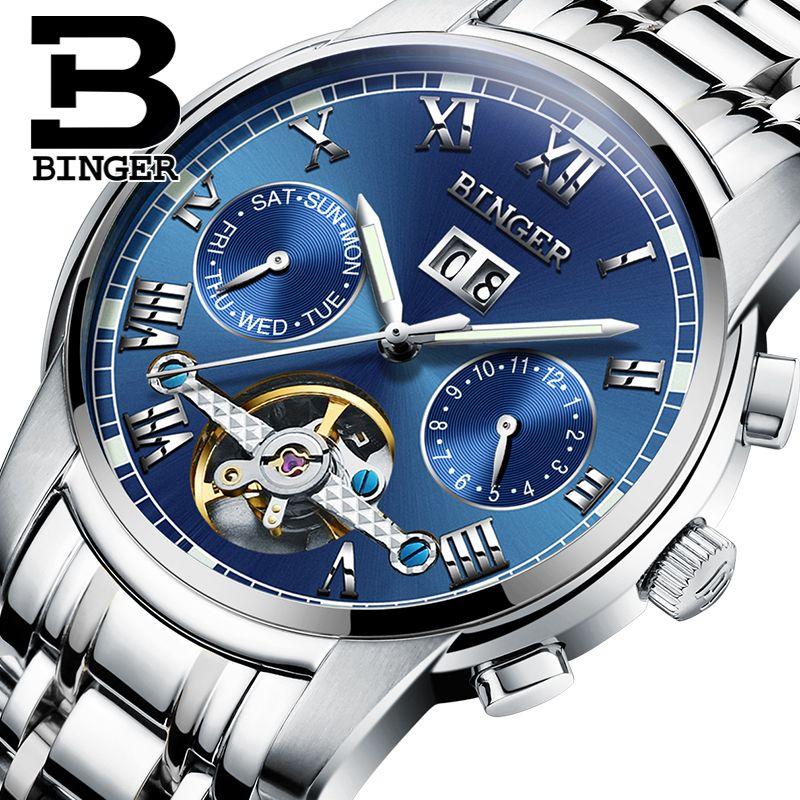 Lxuxury Switzerland Brand Watches Binger Men Automatic Mechanical