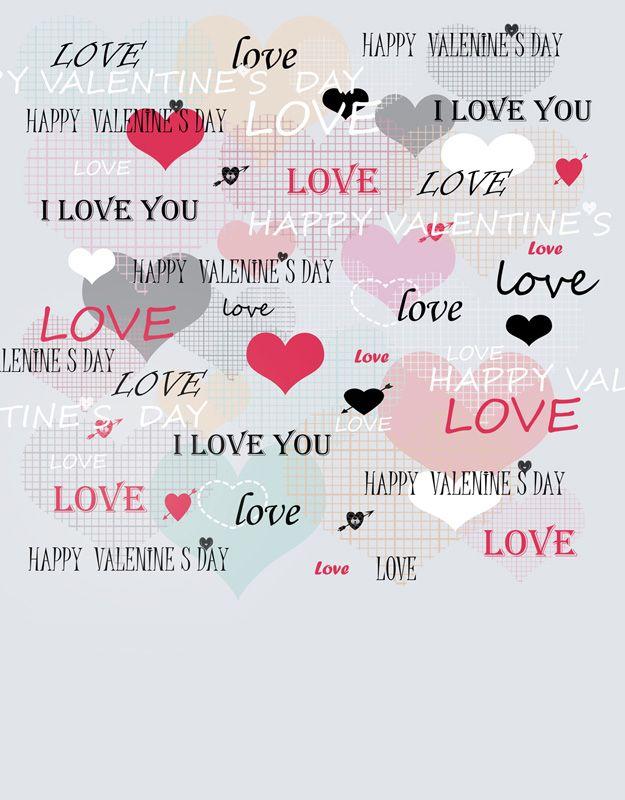Compre 5x7ft Vinil Corações Digitais Cartas De Amor Feliz Dia Dos