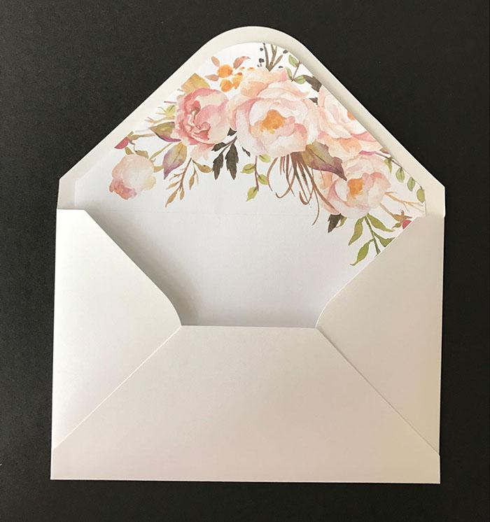 Wedding Invitation Envelope With Floral Liner 135x195mm Christmas