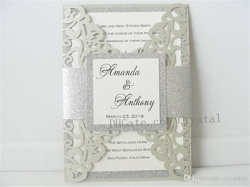 Light Grey/Silver Lasercut Elegant Wedding Invitations Laser Cut