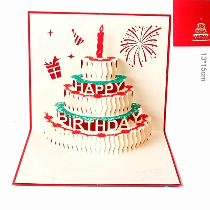 Compre Feliz Aniversário Bolo Presente Cartões 3D Pop Up Cartão De