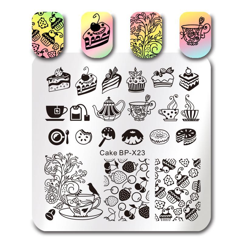 BORN PRETTY Square Stamping Template Geometry Movie Cake Dessert