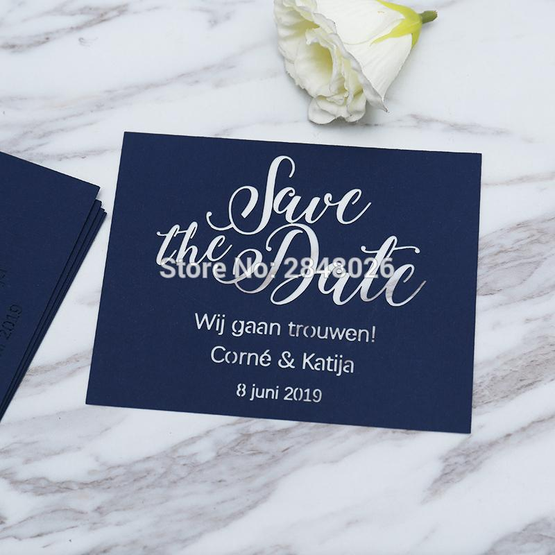 Laser Cut Navy Blue Save The Date, Laser Cut Wedding Save The Date