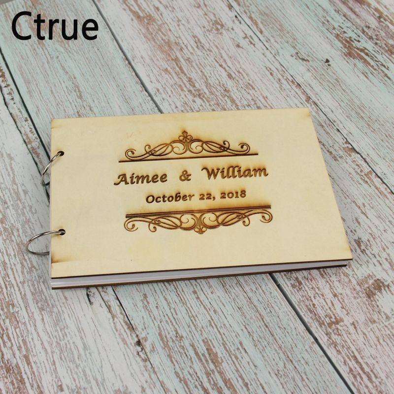215X15cm Custom Names Wedding Guest Book Rustic Wooden Wedding