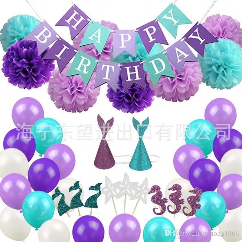 Mermaid Party Decor Set Happy Birthday Banner Pom Poms Flowers Hats