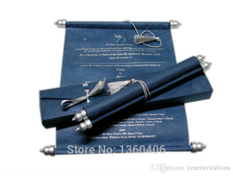 Navy Scroll Wedding Invitations Card Wholesale Party Wedding Caroon