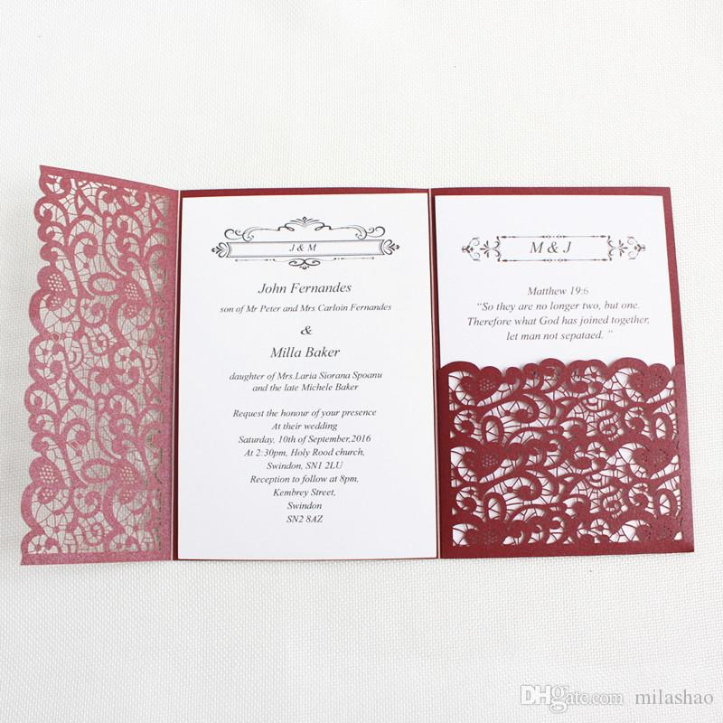 Laser Cut Wedding Invitation Card Burgundy Gold Blue Tri Fold Pocket