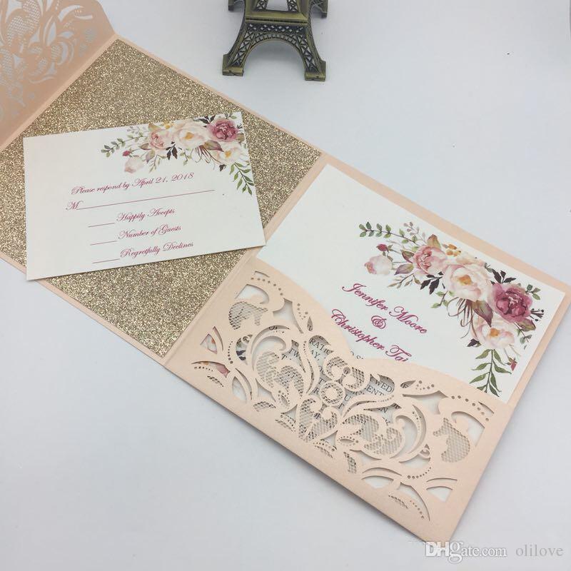 2019 New Arrival Laser Cut Pocket Wedding Invitation Suites