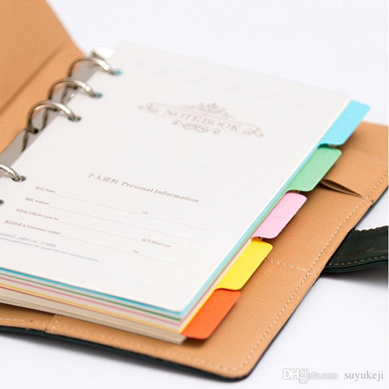 ed Tabbed Index Divider For A5/A6/A7 Notebook 6 Ring Paper Index