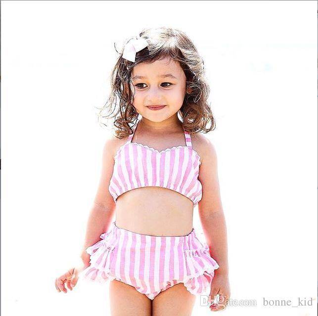 2019 Summer Baby Girls Two Piece Striped Pink Swimwear Kids