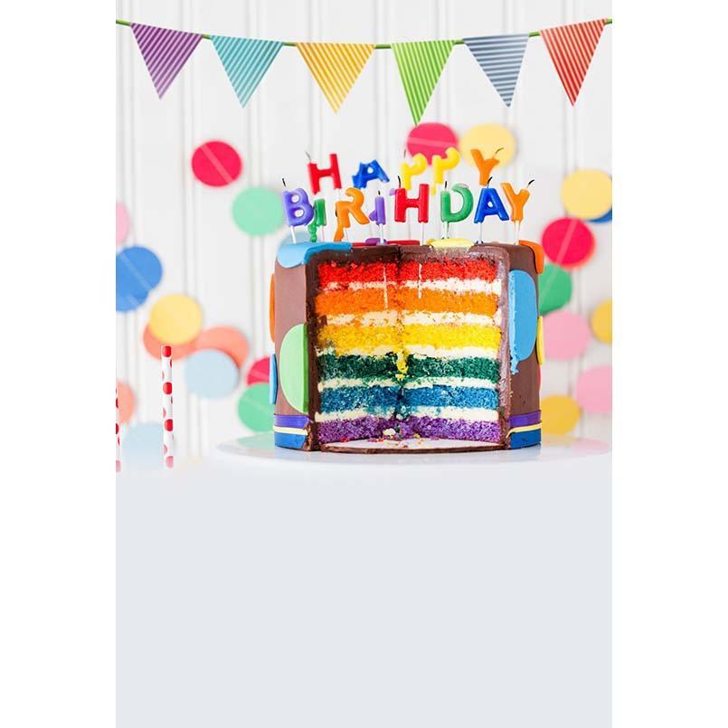 2019 Happy Birthday Party Photography Backdrops Rainbow Cake Pastel