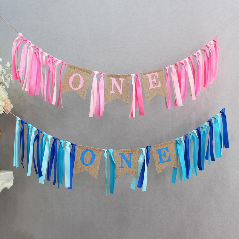 2019 Custom Blue Pink Ribbon One First Birthday Banner Baby Girl Boy