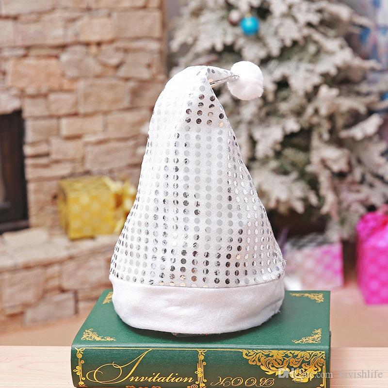 Hot Sales In Stock Bright Sequins Christmas Hat Adult Caps Party