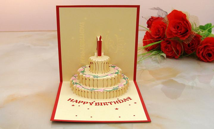 3D Flocking Paper Greeting Card Foldable Cake Candle Piano Design