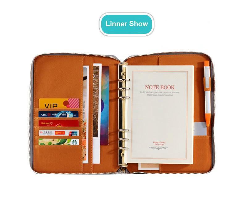 Kemila Portable A5 A6 Leather Notebook Binder Spiral Notebook Diary - notebook binder