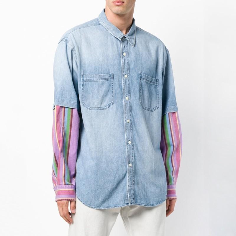 Luxury Brand Stitching Denim Jacket Shirts Early Spring Autumn