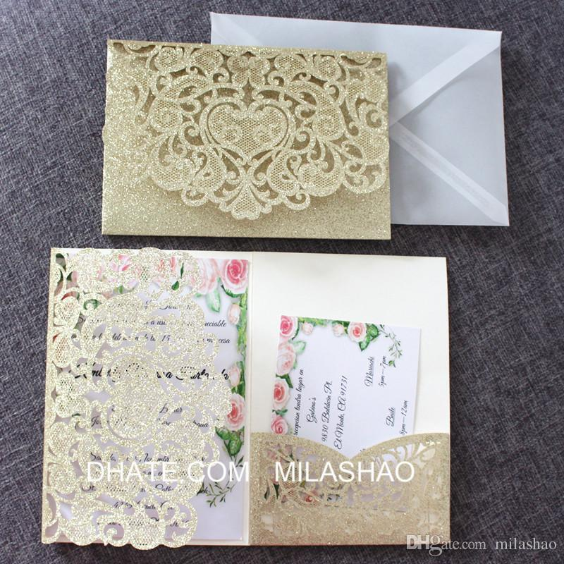 Glittery Gold Wedding Invitation Cards Personalized RSVP Insert