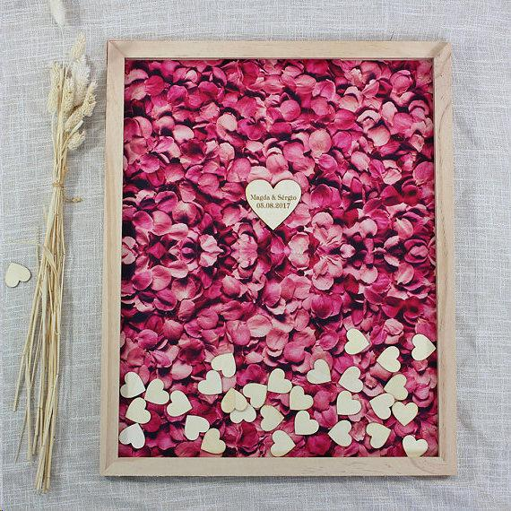 Customized Hearts Wedding Guest Book,Rustic Wood Wedding Memory Book
