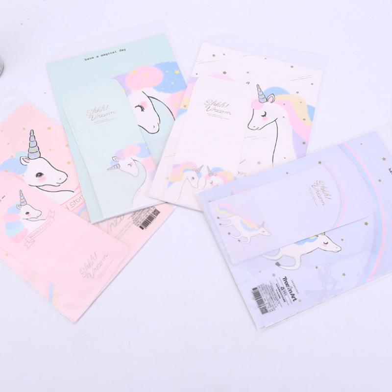 2019 Cartoon 3 Envelopes+ 6 Sheets Letters Animal Rainbow Unicorn