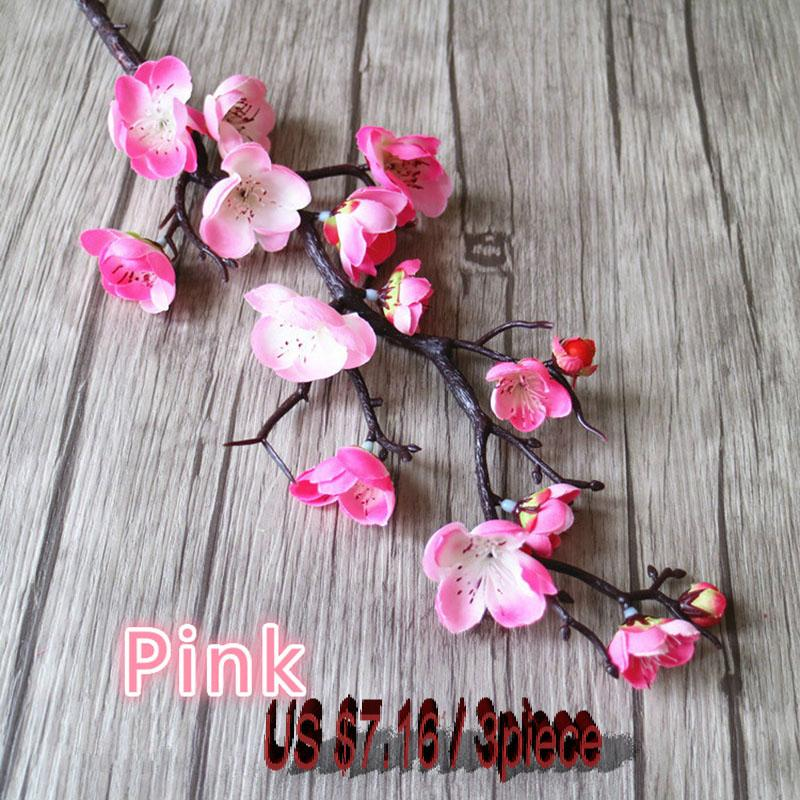 Compre 3 Unids Flores Artificiales Flores De Cerezo Nupcial