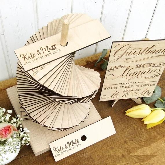 2019 Personalize 3D Rustic Wedding Guest Book Tower, Custom Wood