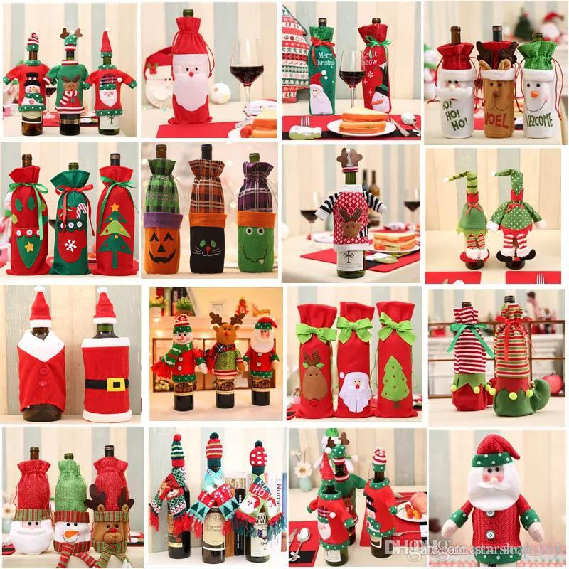 Christmas Decoration Santa Claus Wine Bottle Cover Gift Reindeer