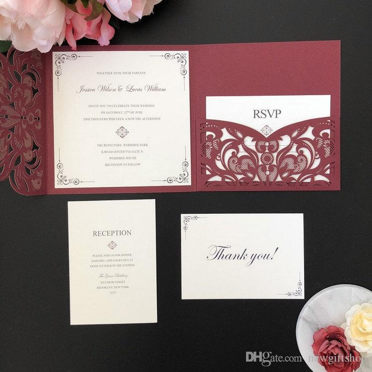 Burgundy Shimmer Square Laser Cut Wedding Invitation DIY Wedding