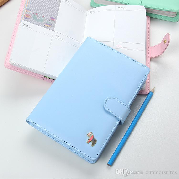 2018 Pu Leather Kawaii Agenda 2018 Planner Notebook Cute Weekly