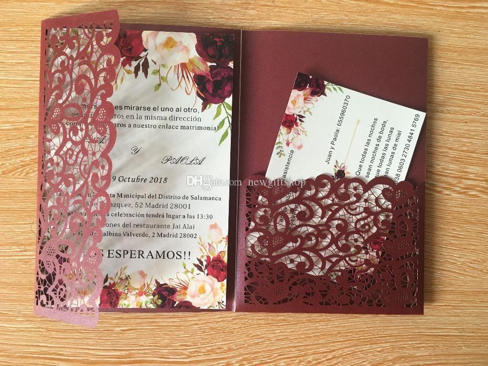 Pocket Wedding Invites Shimmy Burgundy Trifold Flower Laser Cut