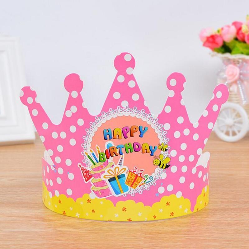 Polka Dot Paper Crown Hat Boy Girl Prince Princess Caps Birthday