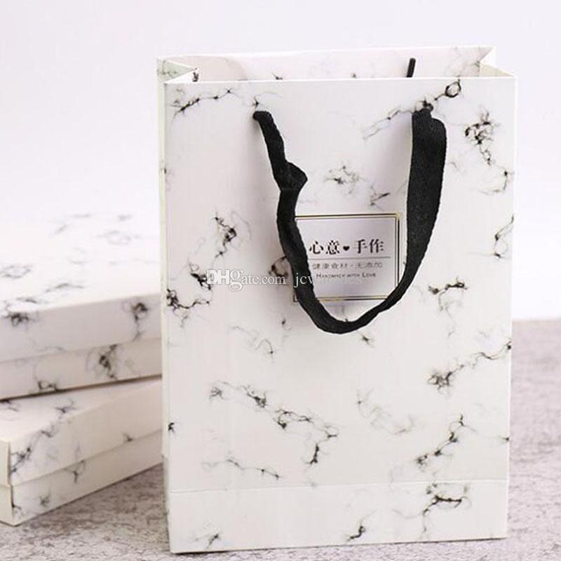 Marble Design Paper Bag With Handle Snow Niang Egg Yolk Puff Bean