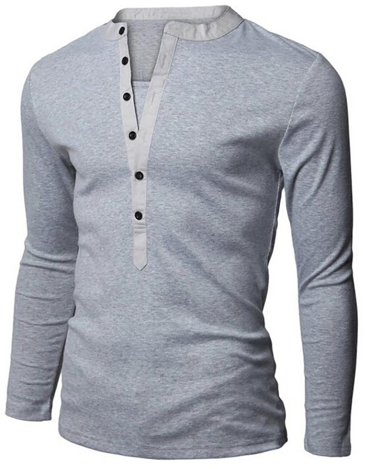 Men\u0027S Henley Shirt Popular Design Tee Tops Long Sleeve Stylish Slim
