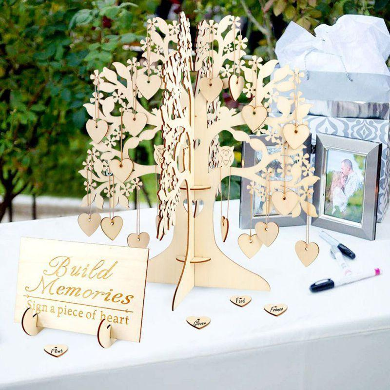 2019 Sign Guest Book Tree Signature Guest Books Wooden Hearts