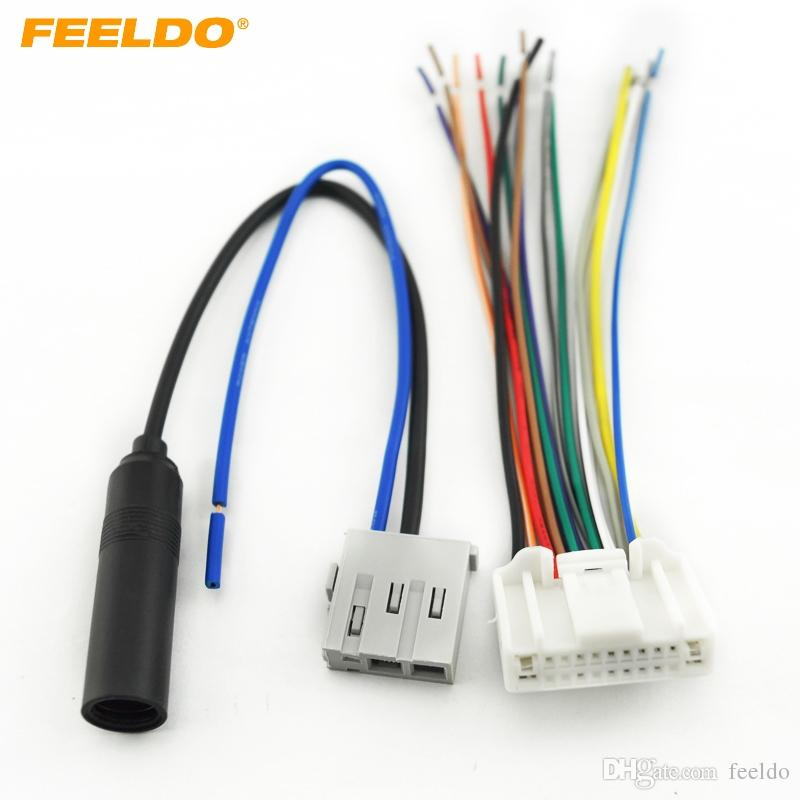 FEELDO Car Stereo Audio Wiring Harness With Antenna Adapter Plug For