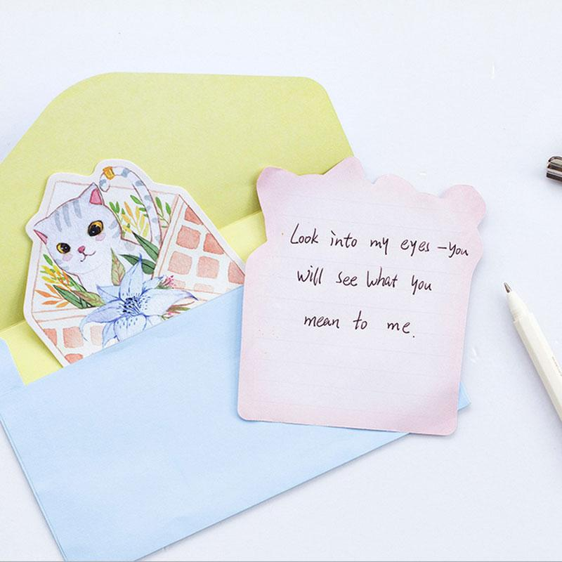 2019 Cute Cat Writing Paper Envelopes Letterhead Office Stationery