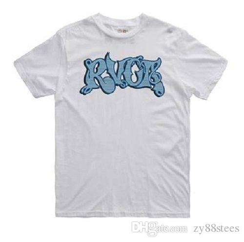 Rvca Stripe Script White Blue Black Screenprint S/S 100 Cotton