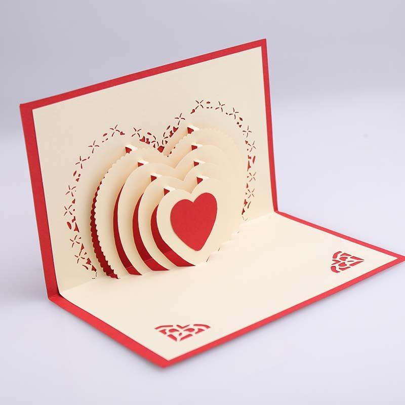 Compre 3D Pop Up Cartão De Forma De Coração Cartões Postais