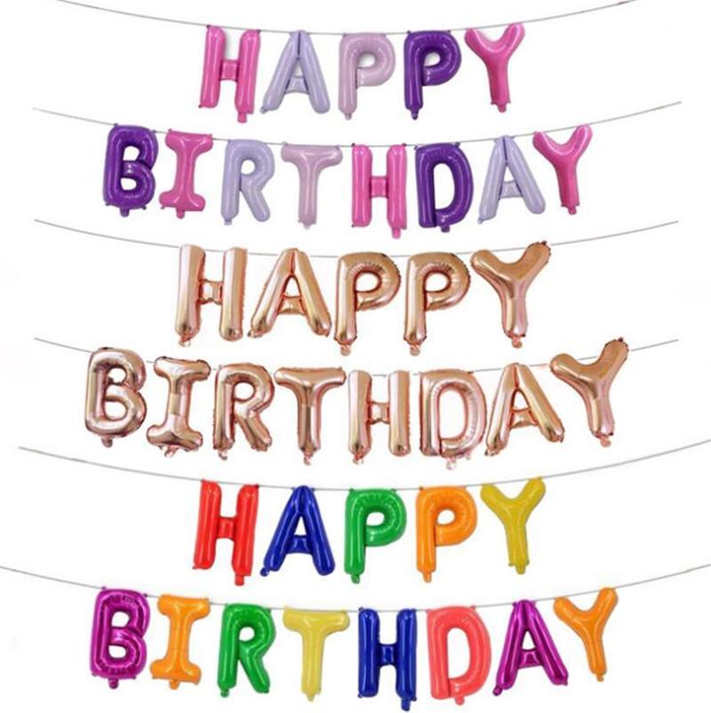 Compre / Set Feliz Cumpleaños Letras Globos 16 Pulgadas De Aluminio