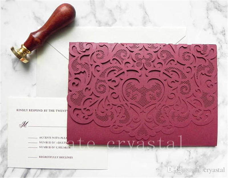 Burgundy Lace Pocket Laser Cut Wedding Invitation Suite For Vintage