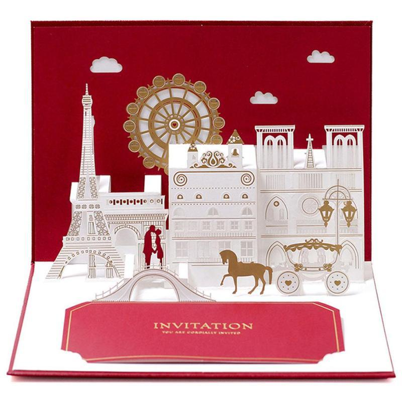 3D Wedding Invitation Pop Up Greeting Cards Laser Cut Postcards