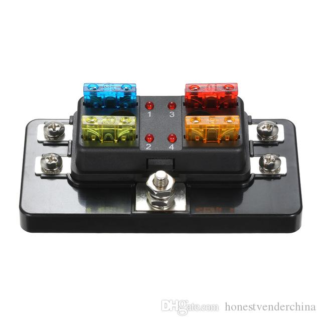 4 Way Blade Fuse Box With LED Indicator Fuse Block For Car Boat