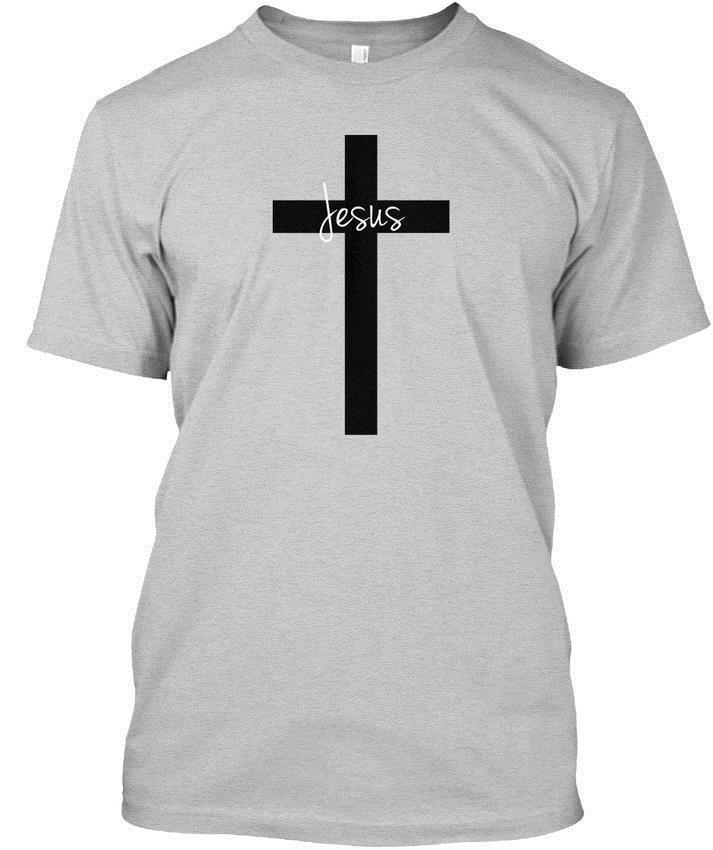 Black Cross With Jesus New Design Popular Tagless Tee T Shirt The