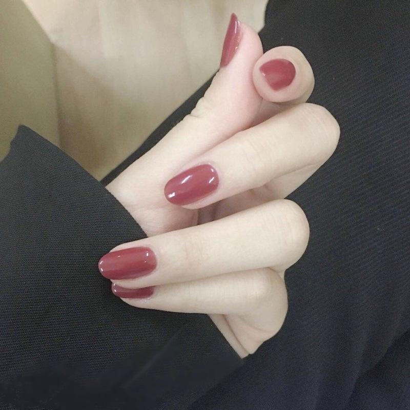 Almond Medium Length Fake Nails Gradient Bride Wearing Solid Color