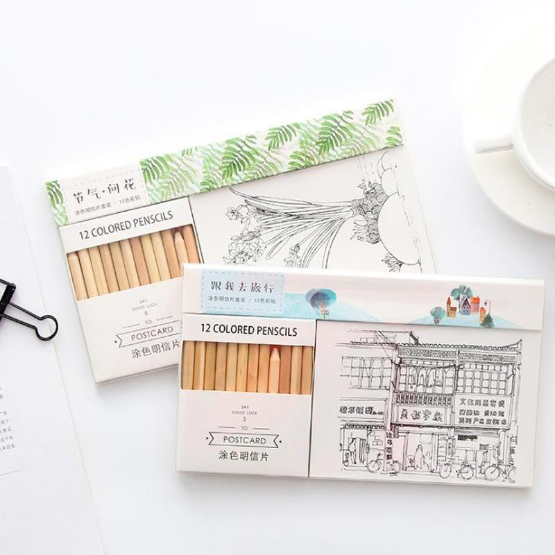 2019 /Pack Cute ed Wooden Pencil With 12 Greeting Postcards Set DIY